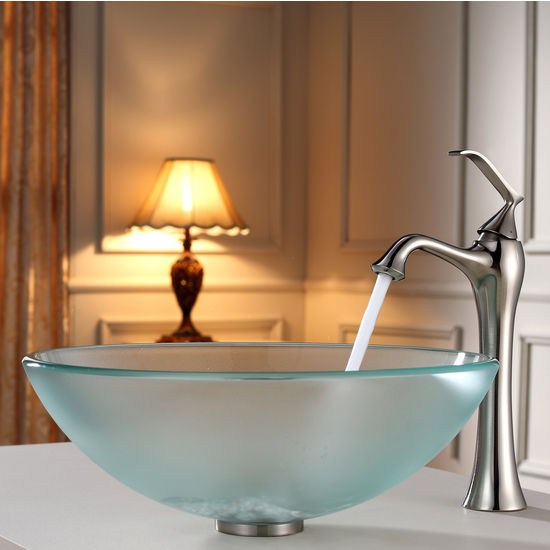 Kraus Frosted Glass Vessel Sink and Ventus Brushed Nickel Faucet Set