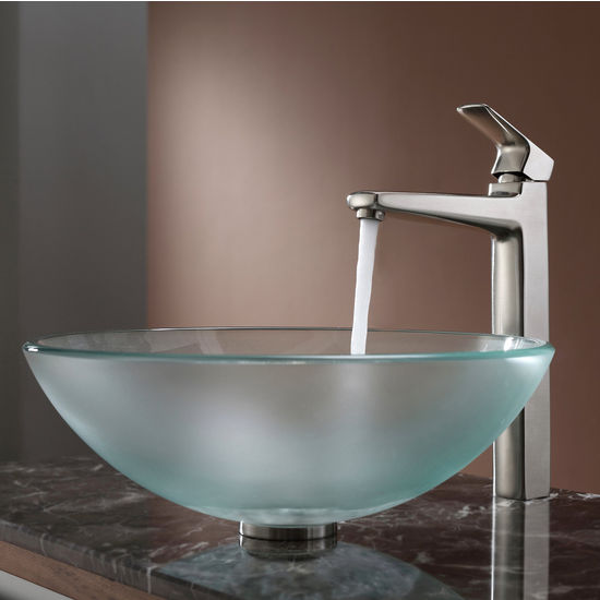 Kraus Frosted Glass Vessel Sink and Virtus Brushed Nickel Faucet Set