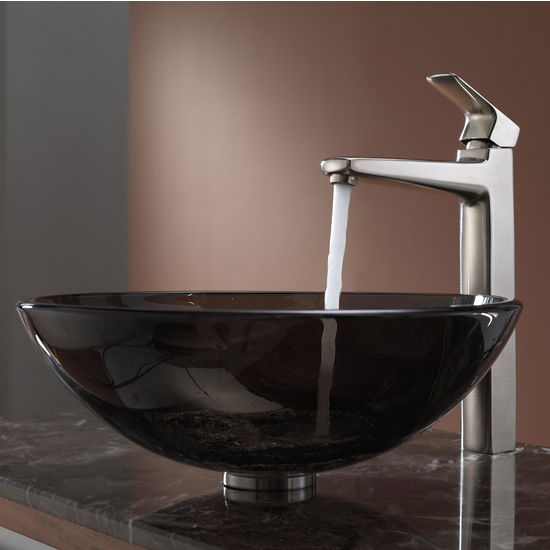 Kraus Clear Brown Glass Vessel Sink and Virtus Brushed Nickel Faucet Set