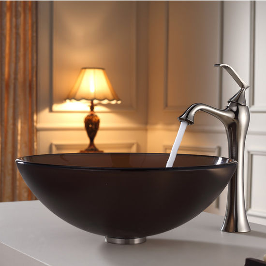 Kraus Frosted Brown Glass Vessel Sink and Ventus Brushed Nickel Faucet Set