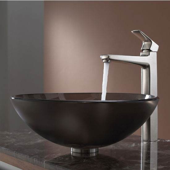 Kraus Frosted Brown Glass Vessel Sink and Virtus Brushed Nickel Faucet Set