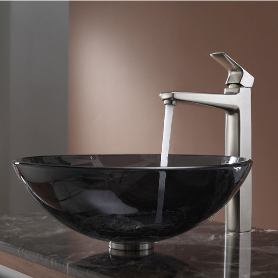 Kraus Clear Black Glass Vessel Sink and Virtus Brushed Nickel Faucet Set