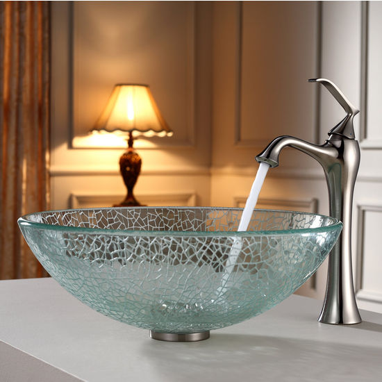 Kraus Mosaic Glass Vessel Sink and Ventus Brushed Nickel Faucet Set
