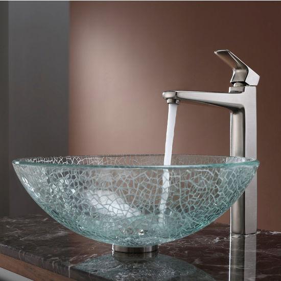 Kraus Mosaic Glass Vessel Sink and Virtus Brushed Nickel Faucet Set