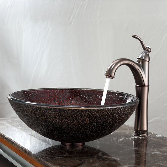 Kraus Callisto Glass Vessel Sink and Riviera Oil Rubbed Bronze Faucet Set