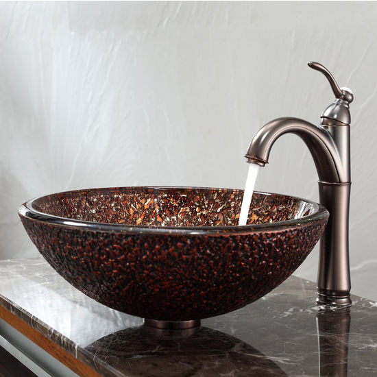 Kraus Venus Glass Vessel Sink and Riviera Oil Rubbed Bronze Faucet Set