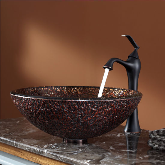 Kraus Venus Glass Vessel Sink and Ventus Oil Rubbed Bronze Faucet Set