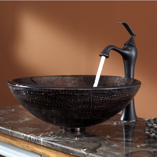 Kraus Copper Illusion Glass Vessel Sink and Ventus Oil Rubbed Bronze Faucet Set