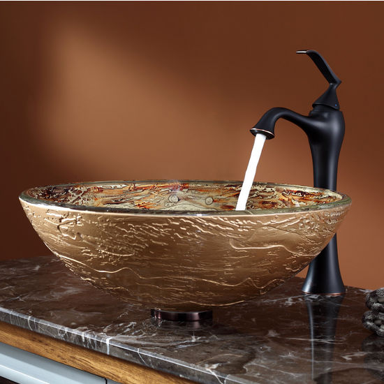 Kraus Ares Glass Vessel Sink and Ventus Oil Rubbed Bronze Faucet Set
