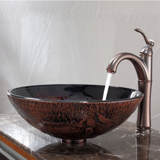 Kraus Lava Glass Vessel Sink and Riviera Oil Rubbed Bronze Faucet Set