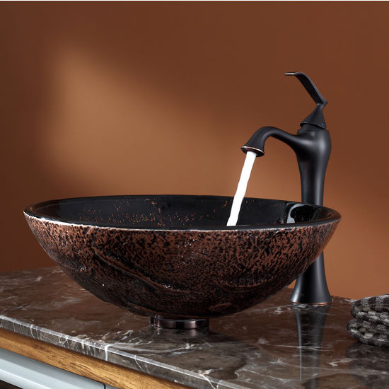 Kraus Lava Glass Vessel Sink and Ventus Oil Rubbed Bronze Faucet Set