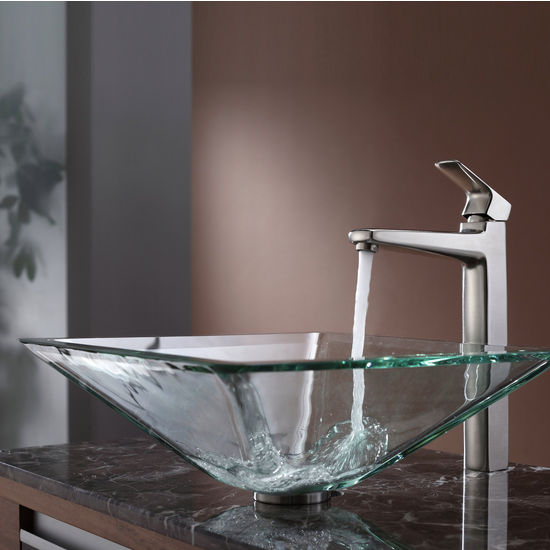 Kraus Clear Aquamarine Glass Vessel Sink and Virtus Brushed Nickel Faucet Set
