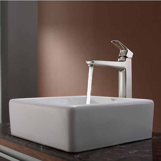 Kraus White Square Ceramic Sink and Virtus Brushed Nickel Faucet Set