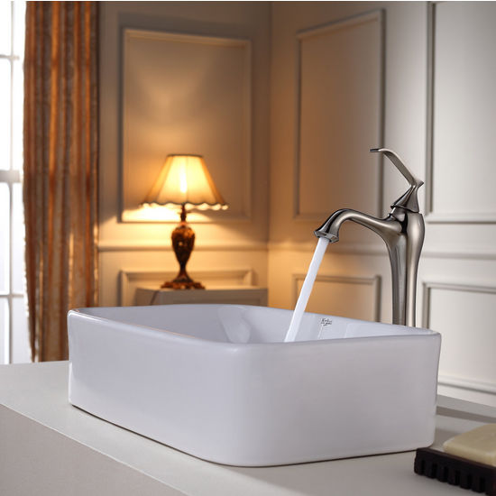 Kraus White Rectangular Ceramic Sink and Ventus Brushed Nickel Faucet Set