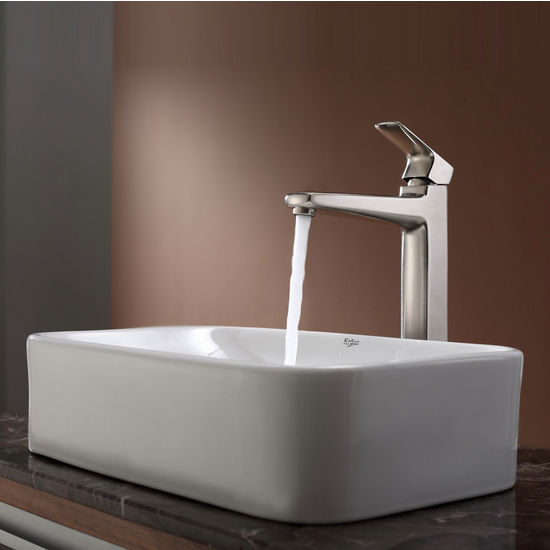 Kraus White Rectangular Ceramic Sink and Virtus Brushed Nickel Faucet Set