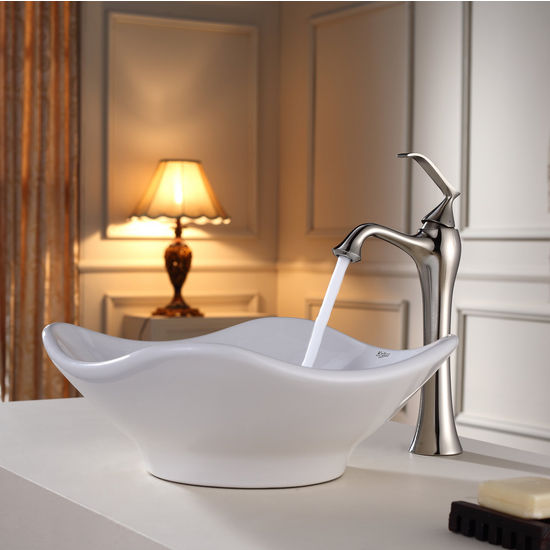 Kraus White Tulip Ceramic Sink and Ventus Brushed Nickel Faucet Set