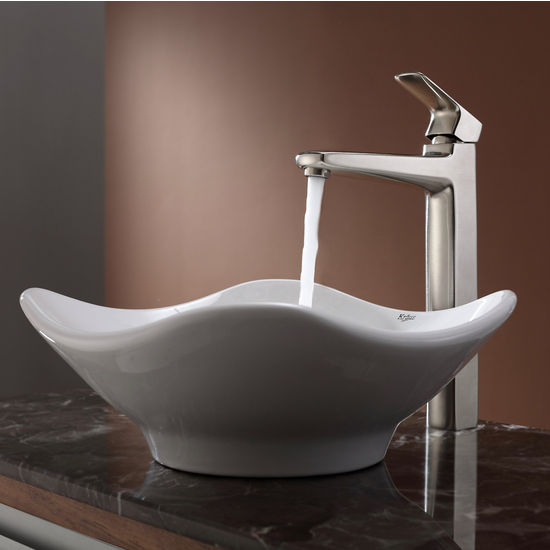 Kraus White Tulip Ceramic Sink and Virtus Brushed Nickel Faucet Set