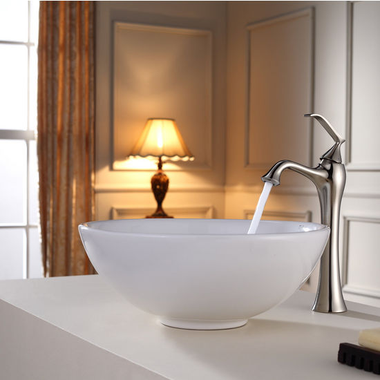 Kraus White Round Ceramic Sink and Ventus Brushed Nickel Faucet Set