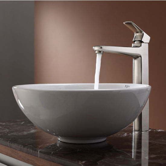 Kraus White Round Ceramic Sink and Virtus Brushed Nickel Faucet Set