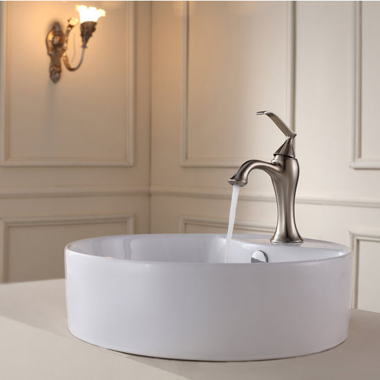 Kraus White Round Ceramic Sink and Ventus Brushed Nickel Basin Faucet Set