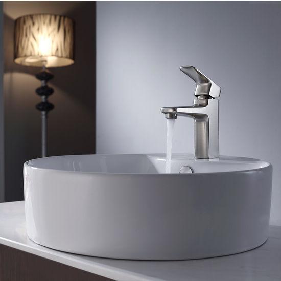 Kraus White Round Ceramic Sink and Virtus Brushed Nickel Basin Faucet Set