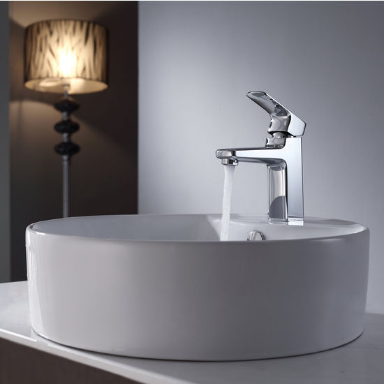 Kraus White Round Ceramic Sink and Virtus Chrome Basin Faucet Set