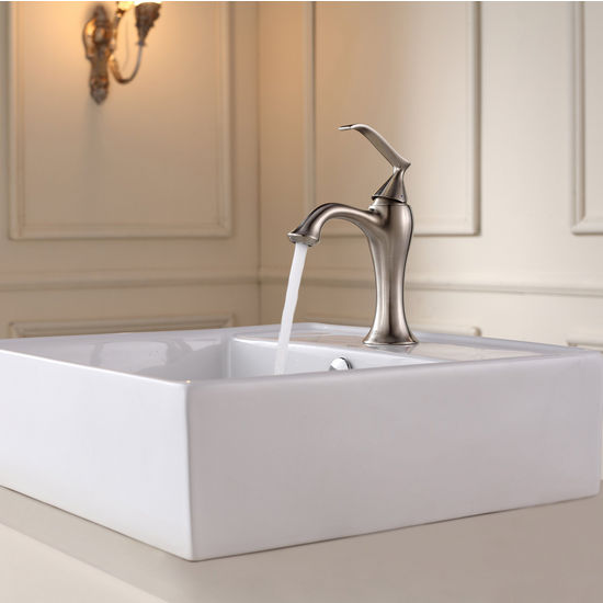 Kraus White Square Ceramic Sink and Ventus Brushed Nickel Basin Faucet Set