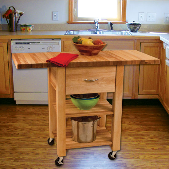"""Catskill Craftsmen Deep Drawer Double Drop Leaf Cart with 1-1/2"""" Thick Butcher Block Top in Oiled Finish, Ready to Assemble, Casters, 46"""" W x 20"""" D x 35-1/4"""" H"""