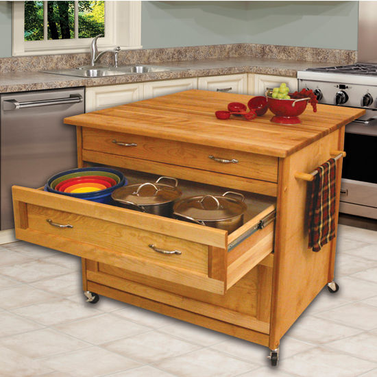 """Catskill Craftsmen Three Drawer Work Center with Drop Leaf in Oiled Finish, Ready to Assemble, Casters, 40"""" W x 38"""" D x 34-1/2"""" H"""
