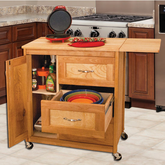 """Catskill Craftsmen Butcher Block Top Drawer Cart with Side Drop Leaf in Oiled Finish, Ready to Assemble, Casters, 40"""" W x 17"""" D x 34-1/4"""" H"""