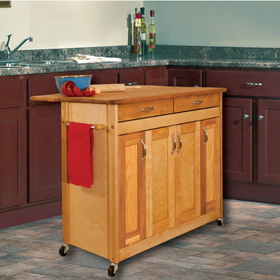 """Catskill Craftsmen Butcher Block Island with Flat Panel Doors and Drop Leaf in Oiled Finish, Ready to Assemble, Casters, 44-3/8"""" W x 28"""" D x 34-1/2"""" H"""
