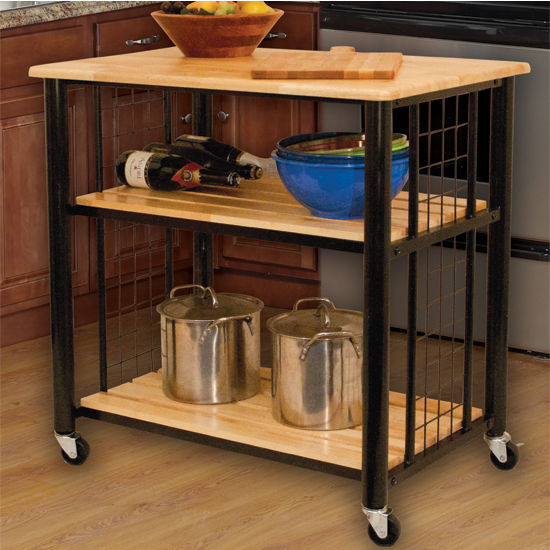 "Catskill Craftsmen Contemporary Kitchen Cart with Natural Lacquered Hardwood Top, Slatted Shelves and Casters, 33-1/2"" W x 23-1/2"" D x 35-1/4"" H"