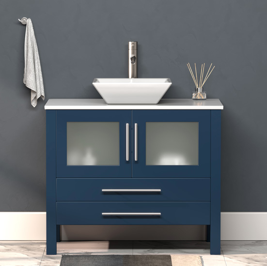 """Cambridge Plumbing 36"""" W Solid Wood Single Vanity in Blue, Pristine White Porcelain Countertop with White Porcelain Vessel Sink, Brushed Nickel Faucet"""