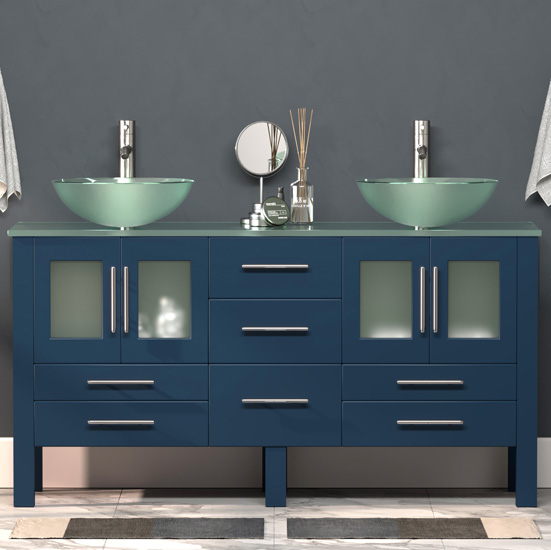 """Cambridge Plumbing 63"""" W Solid Wood Double Vanity in Blue, Tempered Glass Countertop with (2) Round Glass Bowl Vessel Sinks, (2) Brushed Nickel Faucets"""
