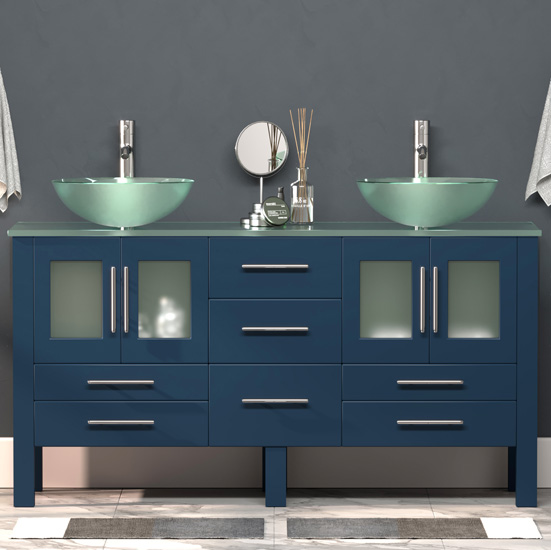 Cambridge Plumbing 63'' W Solid Wood Double Vanity in Blue, Tempered Glass Countertop with (2) Round Glass Bowl Vessel Sinks, (2) Polished Chrome Faucets