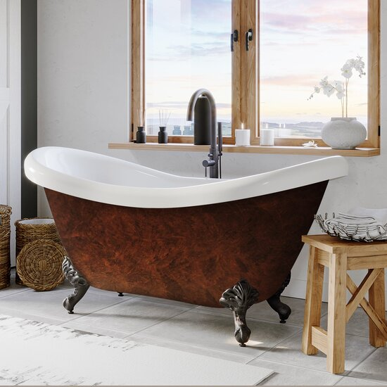 """Cambridge Plumbing 69"""" Acrylic Double Slipper Clawfoot Bathtub with no Faucet Holes, Faux Copper Bronze Exterior Finish and Oil Rubbed Bronze Feet"""