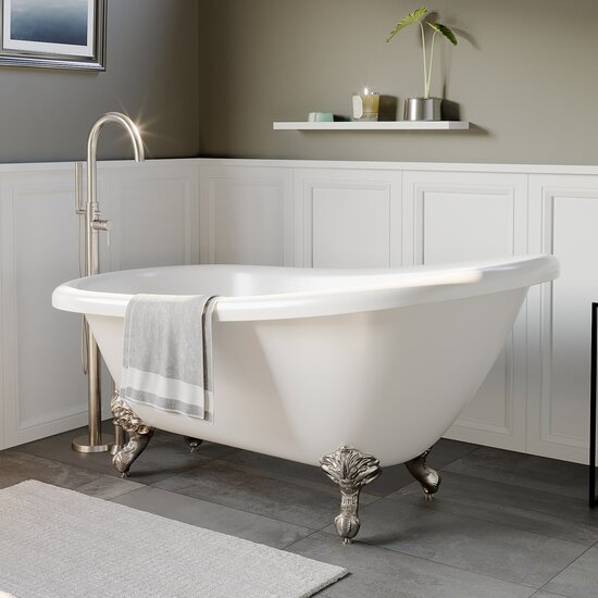 Cambridge Plumbing White Acrylic Slipper Clawfoot Bathtub without Faucet Holes and Complete Brushed Nickel Plumbing Package, Modern Gooseneck Style Faucet with Shower Wand