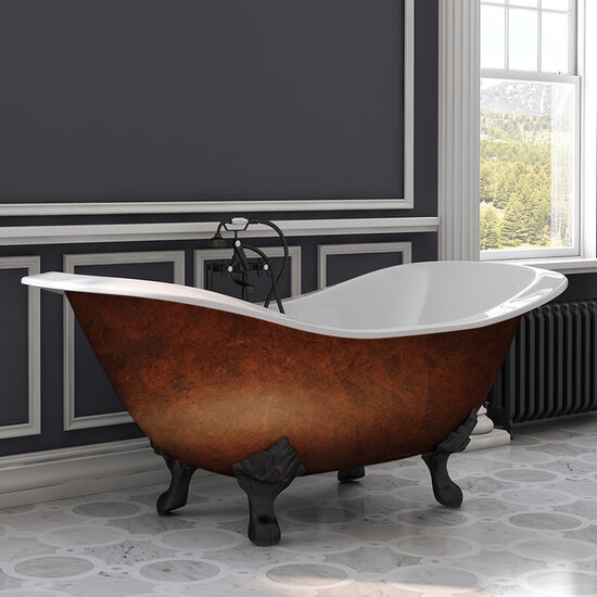 "Cambridge Plumbing 72"" Cast Iron Double Ended Clawfoot Slipper Bathtub with 7"" Deck Mount Faucet Drillings, Faux Copper Bronze Exterior Finish and Oil Rubbed Bronze Feet"