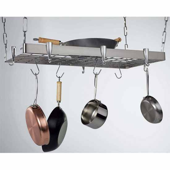 Stainless Steel Rectangular Ceiling Pot Rack