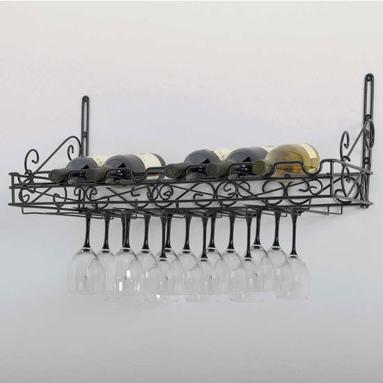 Metal Wine/Stemware Wall Rack in Matte Black Finish: CH-WR40701