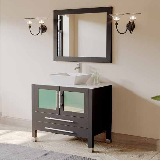 "Cambridge Plumbing 36"" Solid Wood Single Vanity Set in Espresso, Pristine White Porcelain Countertop with White Porcelain Vessel Sink, Polished Chrome Faucet and Wood Trimmed Mirror Included"