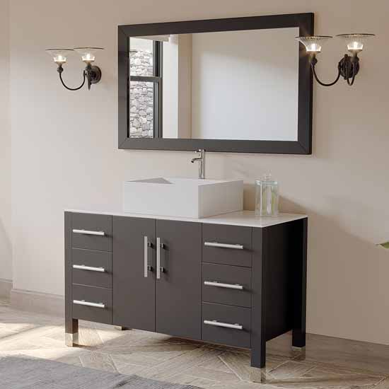 "Cambridge Plumbing 48"" Solid Wood Single Vanity Set in Espresso, White Porcelain Countertop with Square White Porcelain Vessel Sink, Polished Chrome Faucet and Wood Trimmed Mirror Included"