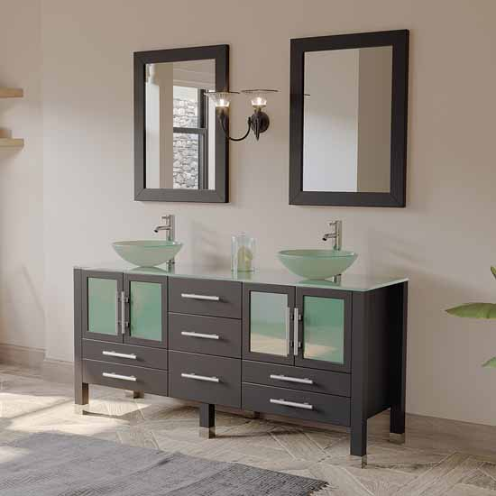 "Cambridge Plumbing 63"" Solid Wood Double Vanity Set in Espresso, Tempered Glass Countertop with (2) Glass Bowl Vessel Sinks, (2) Polished Chrome Faucets and (2) Wood Trimmed Mirrors Included"