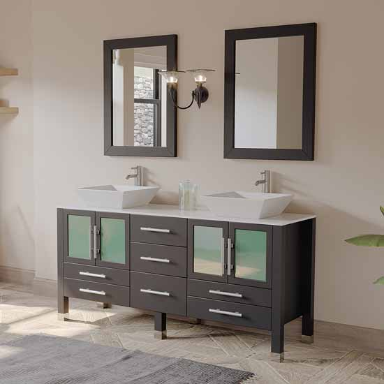 "Cambridge Plumbing 63"" Solid Wood Double Vanity Set in Espresso, White Porcelain Countertop with (2) White Porcelain Trim Design Vessel Sinks, (2) Polished Chrome Faucets and (2) Wood Trimmed Mirrors Included"