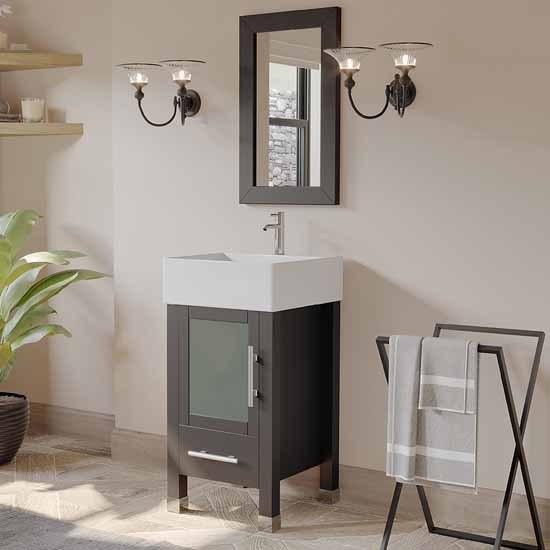 """Cambridge Plumbing 18"""" Solid Wood Single Vanity Set in Espresso, White Porcelain Vessel Sink with Polished Chrome Faucet and Wood Trimmed Mirror Included"""