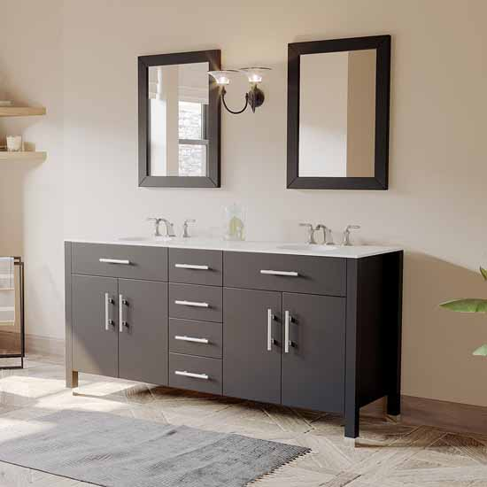 "Cambridge Plumbing 72"" Solid Wood Double Vanity Set in Espresso, White Porcelain Countertop with (2) Basin Sinks and (2) Wood Trimmed Mirrors Included"