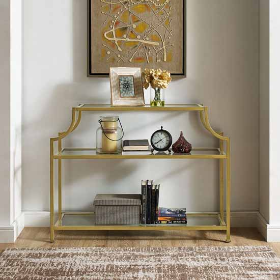 Crosley Furniture Aimee Gl Console Table Gold Finish 43 W X 12