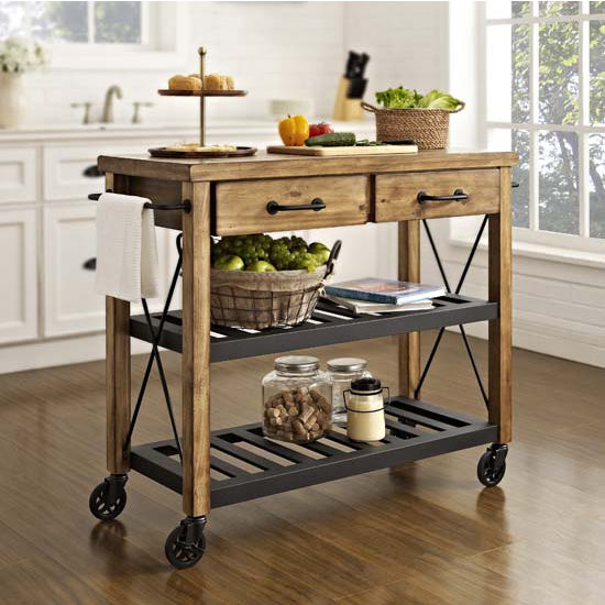 Two-drawer cart with black wheels