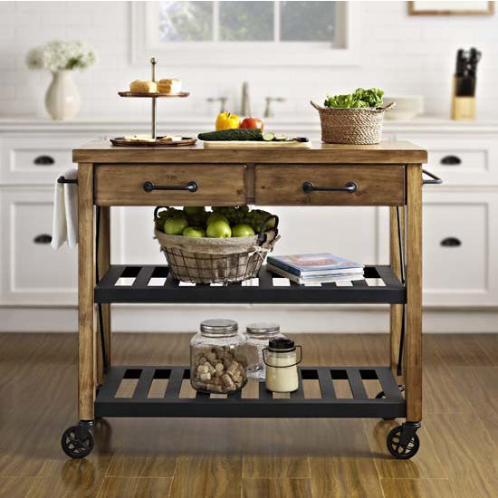 Roots Rack Industrial Kitchen Cart Made Of Solid Pine By