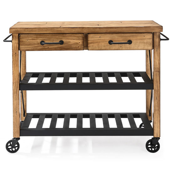 Roots Rack Natural Industrial Kitchen Cart Crosley: Roots Rack Industrial Kitchen Cart Made Of Solid Pine By
